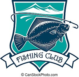 Fishing club and flounder vector icon - Fishing icon of...