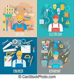 Professions workers and work tools vector posters - Builder,...