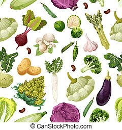 Veggies and vegetables vector seamless pattern - Vegetables...