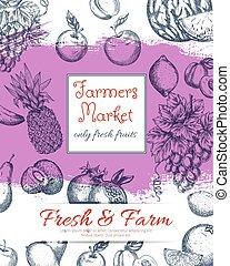 Fruits farmer market vector sketch poster - Fresh farm...