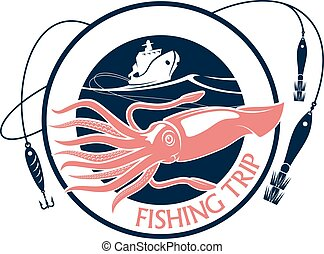 Fishing squid seafood trip vector icon - Seafood fishing...