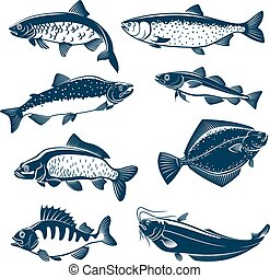 Sea and river fishes vector isolated icons - Fishes vector...