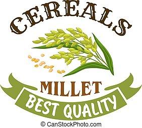 Millet cereal vector poster or emblem - Millet vector icon...