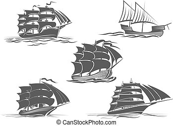 Frigate ship sailing vessel vector isolated icons - Sailing...