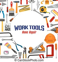 Work tools and repair instruments vector poster