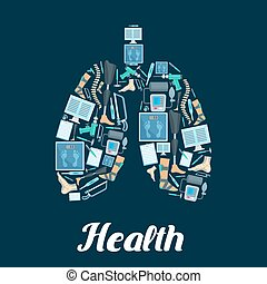 Health vector poster of lungs and medical items - Lungs...