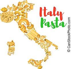pasta, mappa, vettore, italia, manifesto