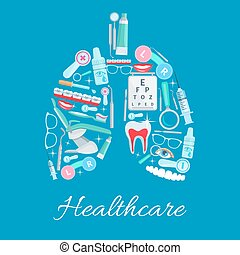 Ophthalmology, dentistry healthcare vector poster -...