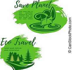 Eco travel green travel vector symbols