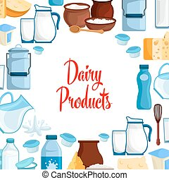 Dairy milk products vector poster - Milk and dairy products...