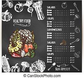 Healthy food menu vegetables vector sketch - Vegetables...