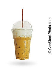 Iced coffee or caffe latte with milk foam in takeaway cup....