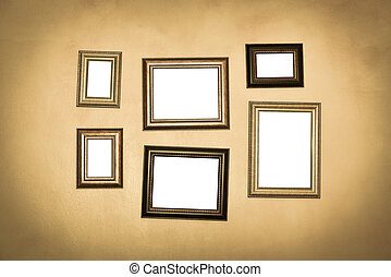 Vintage traditional realistic frames set on dark wall