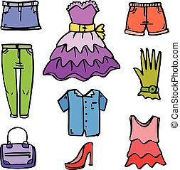 Clothes and accessories for women doodles vector art