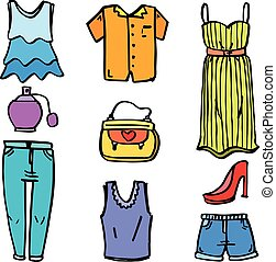 Clothes style for women of doodles vector art