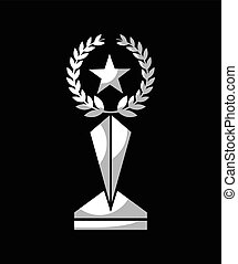 trophy in star shape icon over black background. vector...