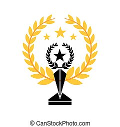 trophy in star shape - gold trophy in star shape icon over...