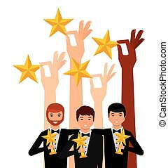 actors awards design - hands holding a golden stars and...