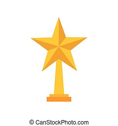 trophy in star shape - golden trophy in star shape icon over...