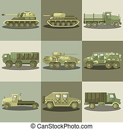 Military cars and army machine trucks - Military transport...