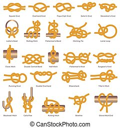 Marine knots and hitches types vector isolated icon - Marine...