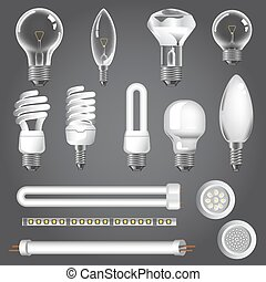 3D lamps types of led bulbs vector icons - Lamp types vector...