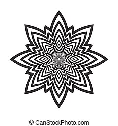 Abstract black and white circular pattern. Eight-pointed...