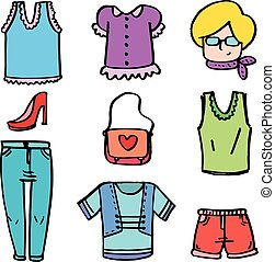 Doodle of clothes various for women vector illustration