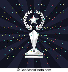 trophy in star shape icon over colorful dots and blue...
