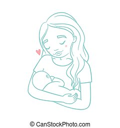 Mother and new born baby. Vector hand drawn illustration