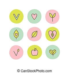 Set of vegan, natural, organic abstract icons.