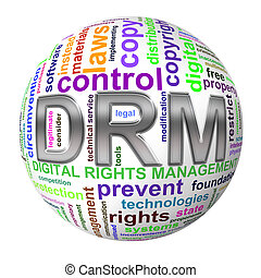 3d ball wordcloud drm digital rights management -...