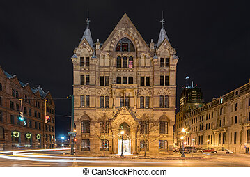 Syracuse Savings Bank Building was built in 1876 with Gothic...