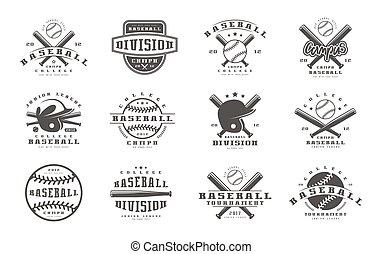 Badges set of baseball team. Graphic design for t-shirt....