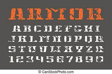 Stencil-plate serif font and numerals in military style with...