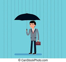 Cute Cartoon Businessman with Umbrella Standing Under the Rain. Vector flat-style illustration.