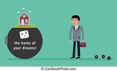 A young employee with the smallest debt offer the mortgage...
