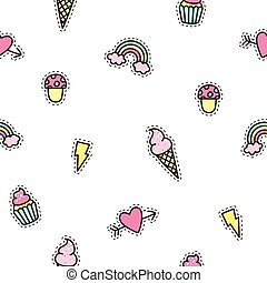 Cute objects seamless pattern. Vector hand drawn background