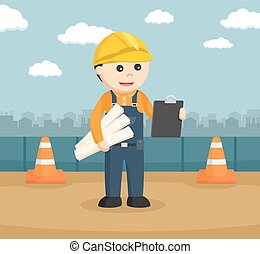construction worker holding blueprints and clipboard