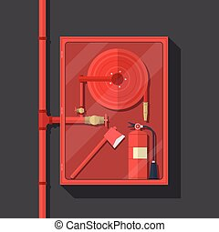 fire hose cabinet on dark background - firefighter tool in...