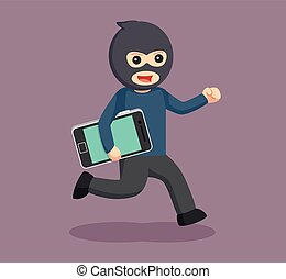 man thief stealing smartphone