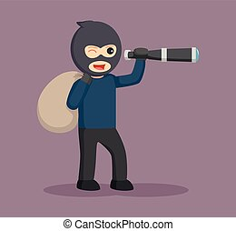 man thief observing with telescope