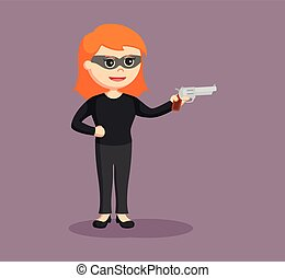 woman thief with handgun