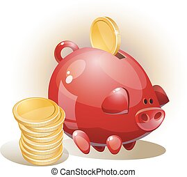 Illustration with coins and piggy bank