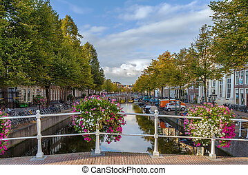 Channel in Leiden, Netherlands - Cityscape of Leiden with...