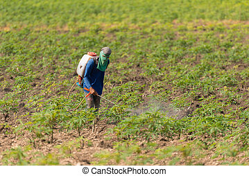 Man farmer to spray herbicides or chemical fertilizers on...