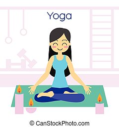 Young woman practicing yoga in lotus pose. Vector...