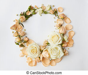 Roses on white background - Circle of roses represented over...