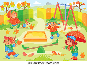 illustration of young children playing in the playground