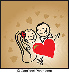 Couple in love - Vector illustration of couple in love